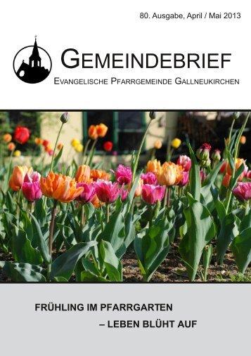 April/Mai2013 - Evangelische Pfarrgemeinde Gallneukirchen