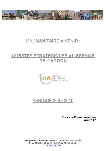 L'HUMANITAIRE A VENIR : 12 PISTES ... - Groupe URD