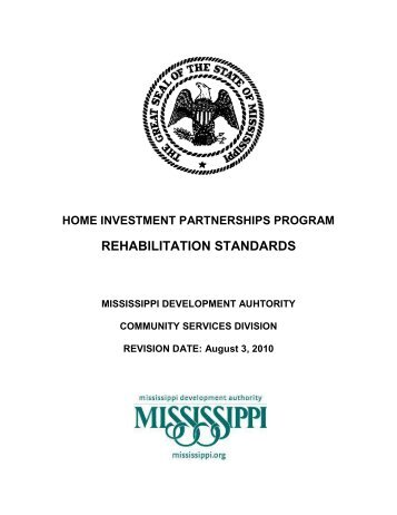 HOME Program Rehabilitation Standards - Mississippi Development ...