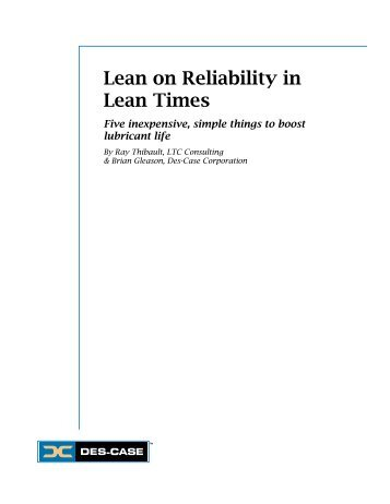 Lean on Reliability in Lean Times - Plant Services