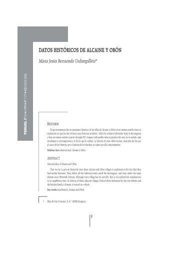 DATOS HISTÓRICOS DE ALCAINE Y OBÓN - Revista Teruel ...