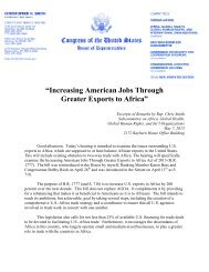 """Increasing American Jobs Through Greater Exports to Africa"""