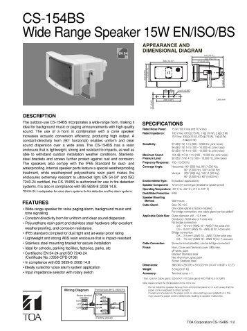 CS-154BS Wide Range Speaker 15W EN/ISO/BS - Eltek