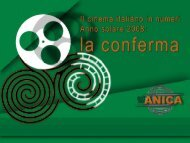 Dati Cinema 2008 - Cultura in Cifre