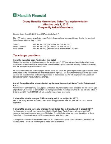 Group Benefits Harmonized Sales Tax implementation ... - Repsource