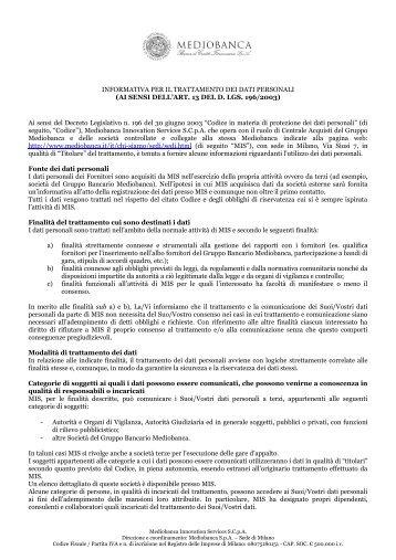 informativa sulla privacy - IN Mediobanca