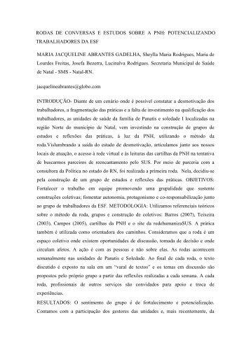 RODAS DE CONVERSAS E ESTUDOS SOBRE A ... - Sispnh.com.br