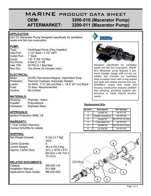 pds-Macerator Pump 24v 3200-010 - SHURflo