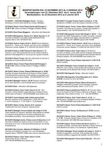 MANIFESTAZIONI DAL 28 DICEMBRE 2012 AL 6 GENNAIO 2013 ...