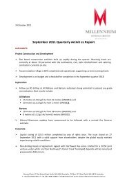 September 2011 Quarterly Report - Millennium Minerals Limited