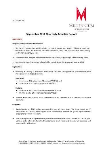September 2011 Quarterly Report - Millennium Minerals Limited