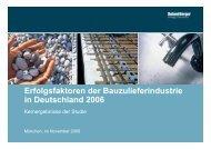 Erfolgsfaktoren der Bauzulieferindustrie in Deutschland 2006