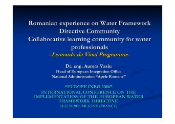 Romanian experience on Water Framework Directive ... - INBO