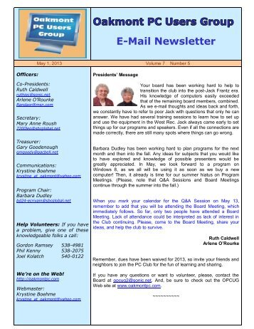 May 2013 OPCUG Newsletter - Oakmont PC Users Group