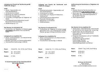 Lehrgang zum Erwerb der Sachkunde gemäß TGRS 519, Anlage 3 ...