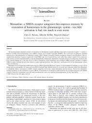 Memantine: a NMDA receptor antagonist that improves memory by ...