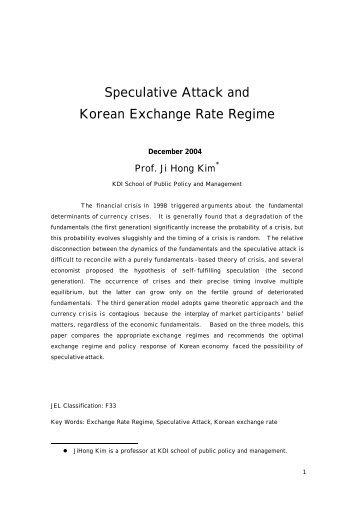 Speculative Attack and Korean Exchange Rate Regime
