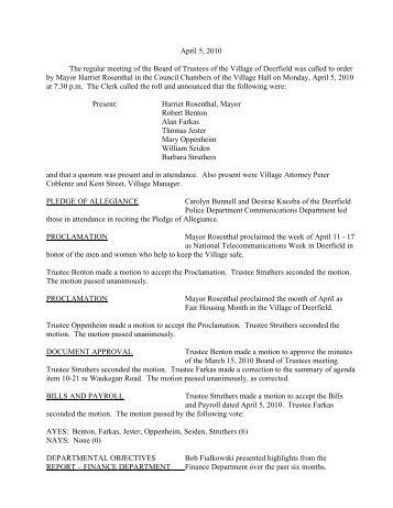 April 5, 2010 The regular meeting of the Board of ... - Deerfield