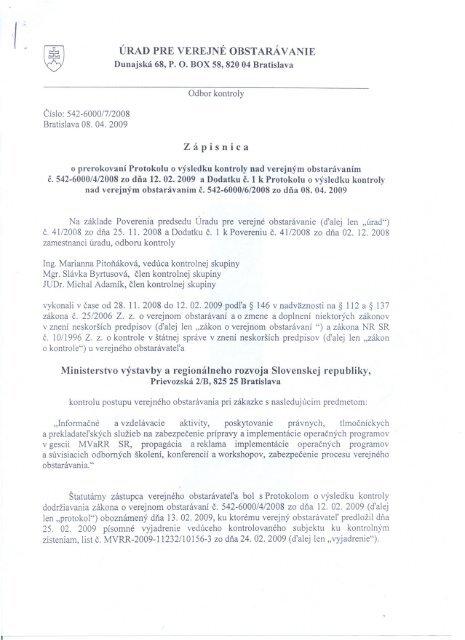 ÚRAD PRE vEREJNĚ OBSTARÁVANIE - Ministerstvo výstavby a ...