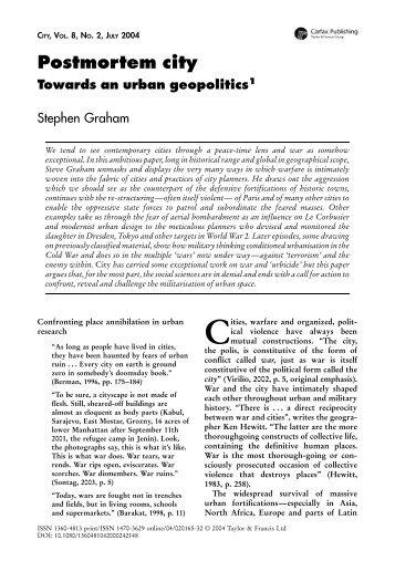 Stephen Graham-Postmortemcity.pdf - Centre for Research ...