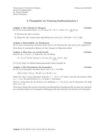 2. ¨Ubungsblatt zur Vorlesung Funktionalanalysis 1 - Institut für ...
