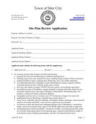 Site Plan Review Application - Town of Siler City