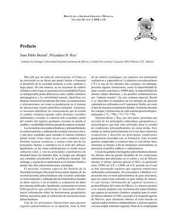 Prefacio/Preface - Boletín de la Sociedad Geológica Mexicana