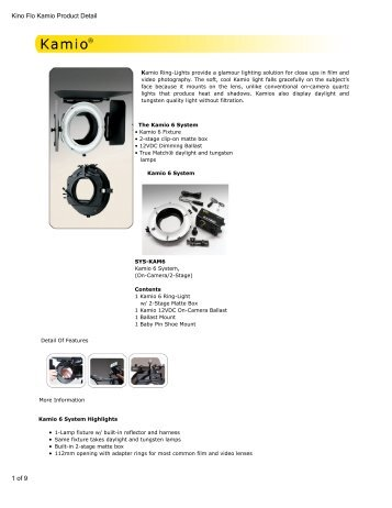Kino Flo Kamio Product Detail - Video Cine Import