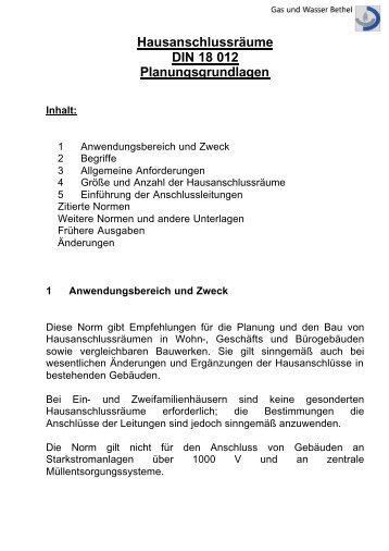 Planungsgrundlagen Hausanschluss (PDF) - Gas und Wasser Bethel