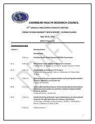 CARIBBEAN HEALTH RESEARCH COUNCIL - PANCAP- Pan ...