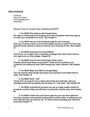 Eleven Free & virtually free marketing MUSTS - MySilentTeam.com