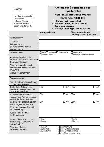Sozialhilfeantrag - Landkreis Ammerland