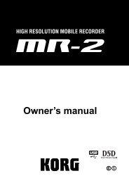 MR-2 Owner's Manual - Korg