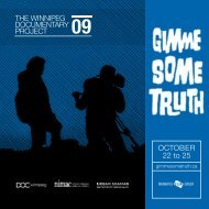 OCTOBER 22 to 25 THE WINNIPEG DOCUMENTARY PROJECT