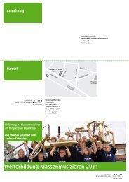 Weiterbildung Klassenmusizieren 2011 - Musikschulen Thurgau