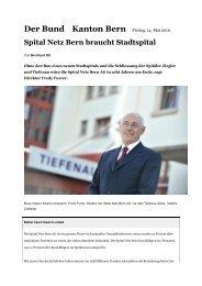 Der Bund, 14.05.2010: Spital Netz Bern braucht Stadtspital