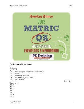 Grade 12 Physics Paper 1 Memorandum 2012 - Times LIVE