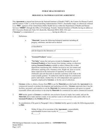 Phs Material Transfer Agreement Nimh Division Of Intramural