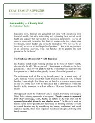 Sustainability A Family Goal - the Family Office Association