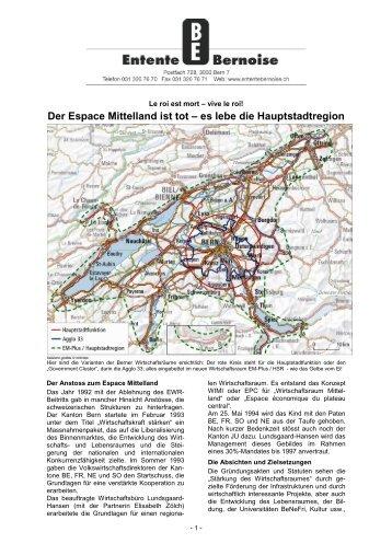 Der Espace Mittelland ist tot – es lebe die ... - Entente bernoise