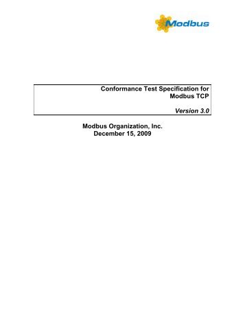 Conformance Test Specification for Modbus TCP - The Modbus ...