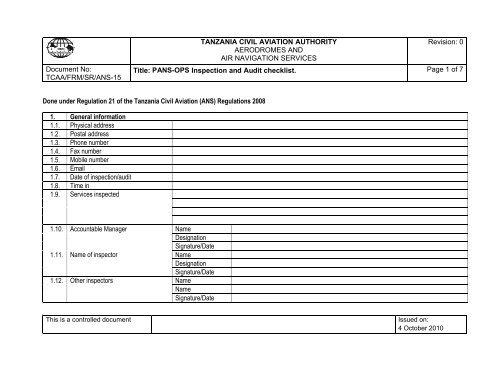 PANS OPS Inspection Checklist - Tanzania Civil Aviation