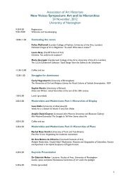 timetable, speakers and abstracts - Association of Art Historians