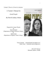 A Teacher's Manual for Good People By David ... - Centaur Theatre
