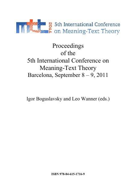 Mtt 2011 Proceedings Observatoire De Linguistique Sens Texte