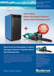 Buderus Holzvergaser-Heizkessel inklusive Bosch-Kettensäge gratis!