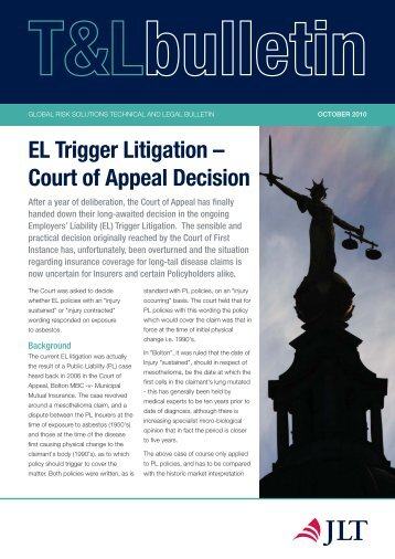 EL Trigger Litigation Bulletin - JLT