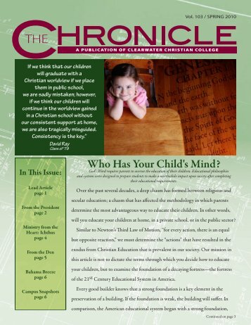 Spring 2010 Chronicle - Clearwater Christian College