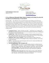 FOR IMMEDIATE RELEASE Contact: Jenie Skoy ... - Travel Salem