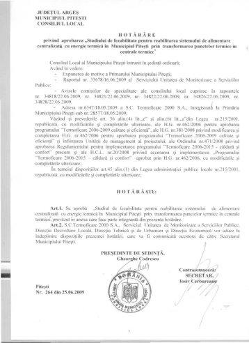 264 - privind aprobarea - Primăria Municipiului Piteşti